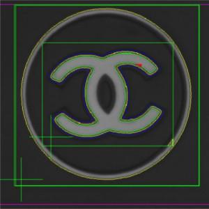Contrôle logo CHANEL gris sur noir