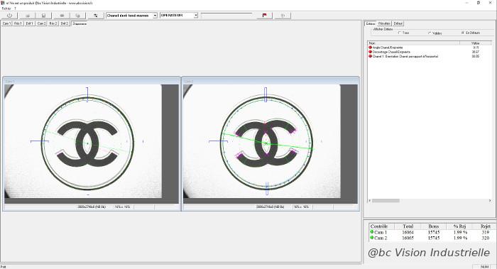 Interface contrôle logo chanel capot
