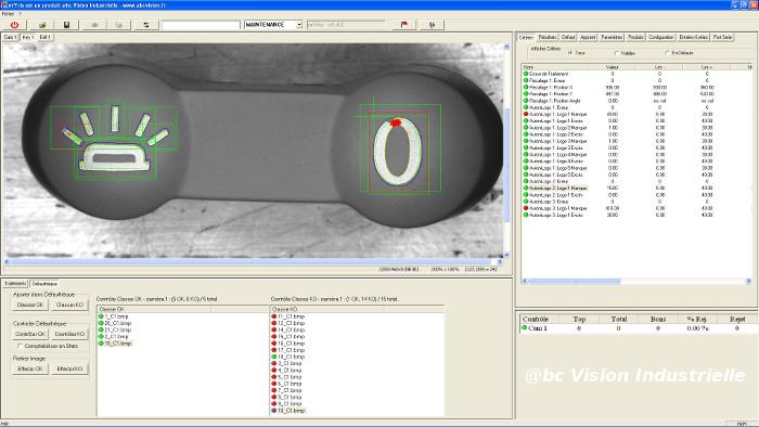 Interface contrôle de marquage sur boutons