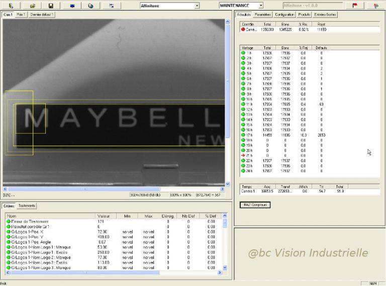 Interface contrôle de marquage MAUBELLINE